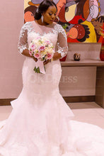 White Trumpet/Mermaid 3/4 sleeve Lace Applique Long Tulle Wedding Dresses