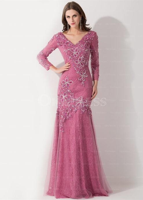 Fantastic Long Sleeves V-neck Floor-length Mother of the Bride Dresses