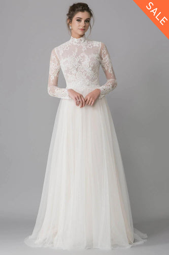 High Neck Soft Tulle Wedding Dress with Full-Length