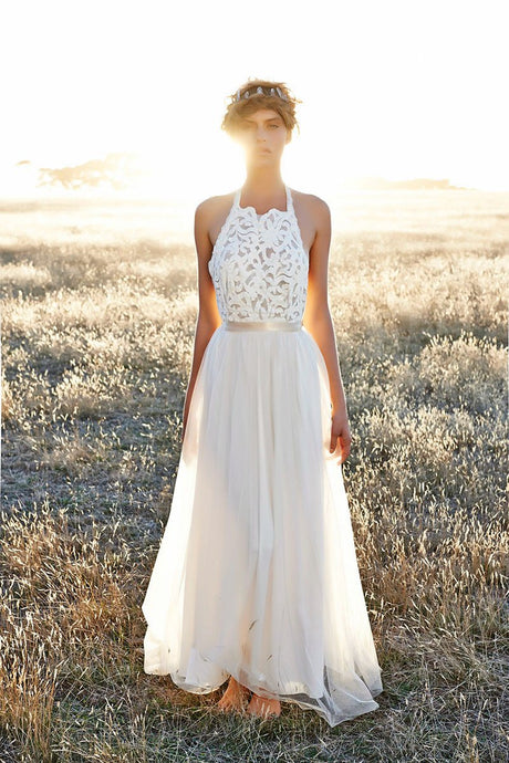 A-Line Halter Sleeveless Floor-Length Wedding Dresses with Open Back