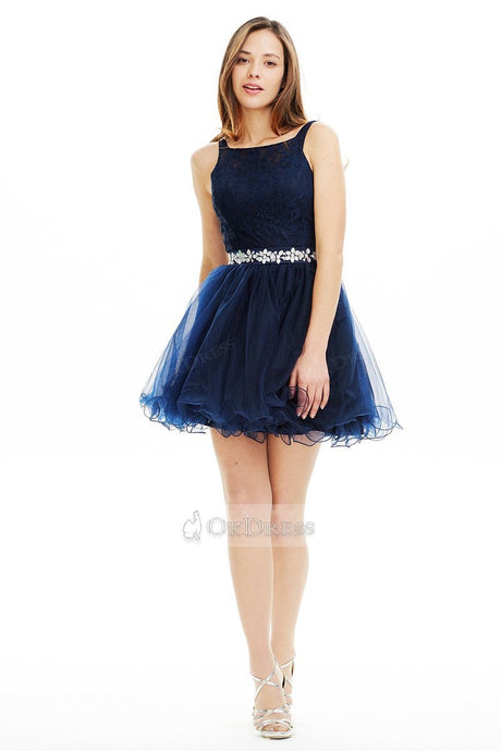Dark Navy Short A-Line Homecoming Dress with Lace Bodice