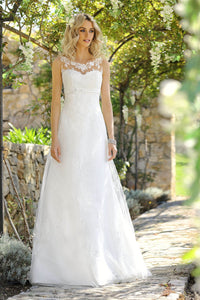 Glamorous A-line Illusion Neck Lace & Tulle Wedding Dresses