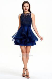 Dark Navy Short and Sexy A-line Scoop Sleeveless Tulle Evening Dress