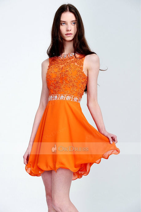 Sexy Applique A-line/Princess Orange Short Prom Dresses with Beads