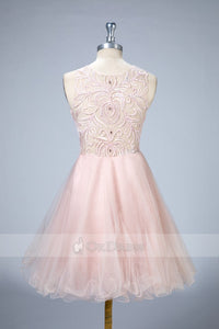 A-Line Short Sleeveless Homecoming Prom Dresses