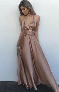 Decent A-line Ruffles V-neck Crossed Straps Silk Like Satin Prom Dresses
