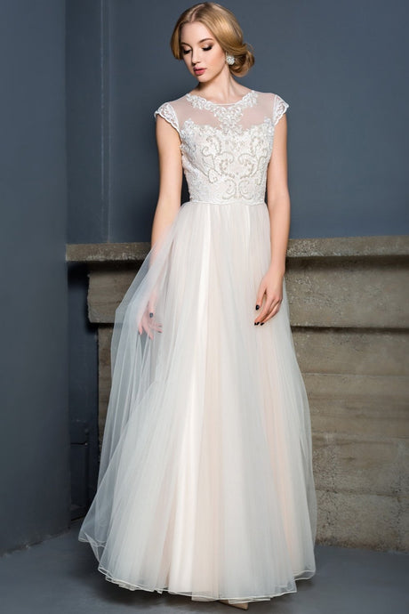 A-Line Floor-Length Wedding Dresses with Cap Sleeves