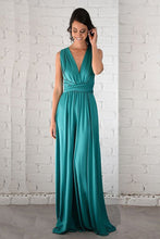 Green Natural Sleeveless V-neck Jade Floor-length Prom Dresses