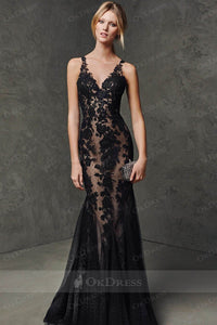 Black Sheath/Column V-Neck Sleeveless Floor-Length Applique Backless Tulle Evening Gowns