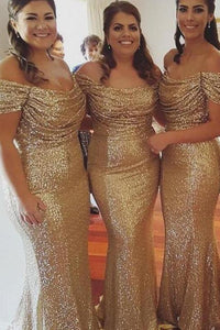 Mature Off The Shoulder Natural Sequined Bridesmaid Dresses