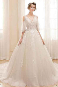 Embroidered Organza & Tulle Big Train Bridal Dresses