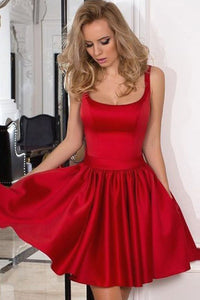 Red Pleated Short/Mini Zipper Sleeveless Red A-line Prom Dresses