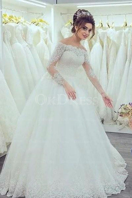 White Remarkable Long Sleeves A-line Off The Shoulder Wedding Dresses