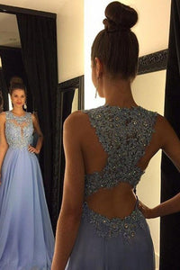 Astonishing A-line Scoop Sleeveless Beading Long Chiffon Prom Dresses