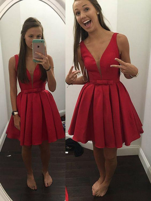 Great Bow Tie Short/Mini Natural Satin A-line Homecoming Dresses