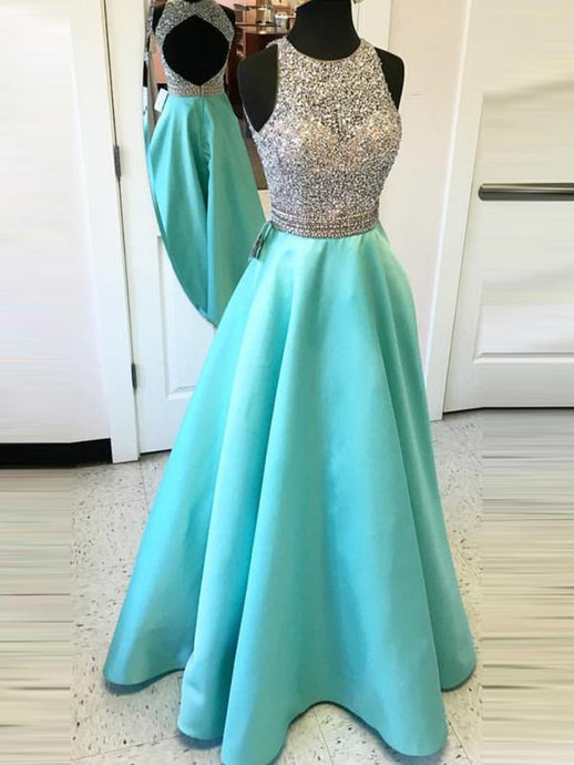 Alluring Beading Natural A-line Prom Dresses