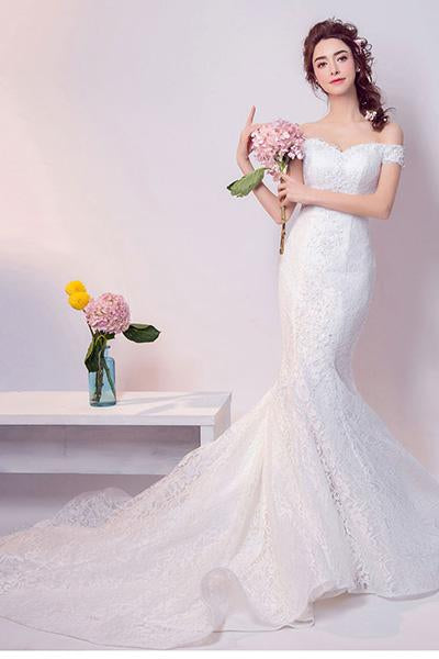 Sexy Off-the-shoulder Trumpet Lace Bridal Wedding Dresses