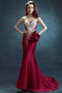 Fabulous Trumpet/Mermaid Elastic Woven Satin Long Burgundy Prom Dress