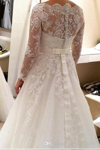 White Lace Applique Beading A-line Off-the-shoulder Full/long sleeve Tulle Wedding Dresses