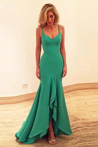 Green Slim Natural Jersey Tiers Prom Dresses