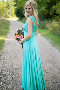 Green Princess Scoop Neck Zipper Lace Chiffon Floor-length Bridesmaid Dresses