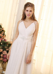 Ivory Fabulous V-neck Sweep Train Chiffon Wedding Dresses