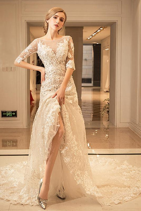 Champagne Tulle Cathedral Train Wedding Dresses with Applique