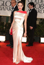 Ivory Angelina Jolie Satin Sheath/Column Sexy One Shoulder Celebrity Prom Dresses Golden Globes 2012