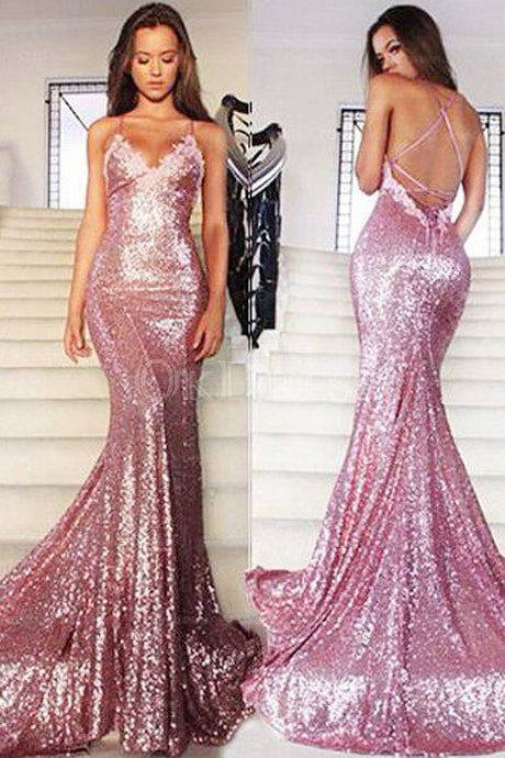 Trumpet/Mermaid Sleeveless Sweetheart Sequined Prom Dresses