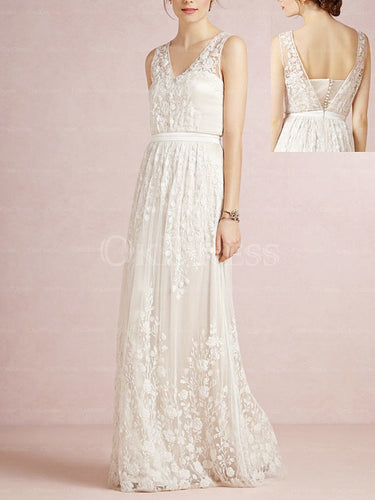Ivory Fashionable A-line/Princess Tulle V-neck Wedding Dresses