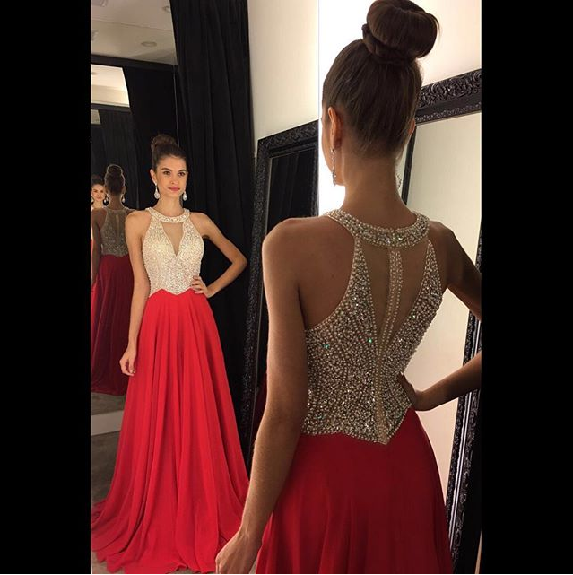 Red Decent A-line/Princess Sleeveless Beading Bodice Chiffon Long Prom Dresses