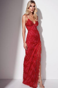Lace Delicate Evening Dresses with Front Opening Fork