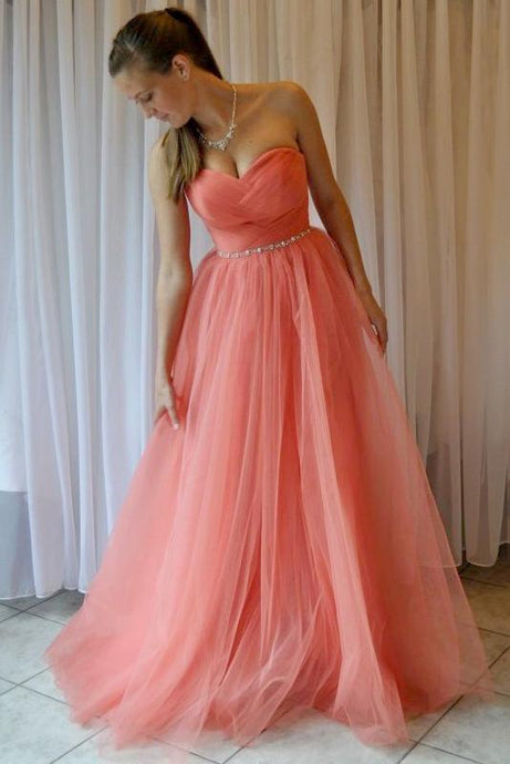 Vogue Beading Sweetheart Natural Princess Floor-length Prom Dresses