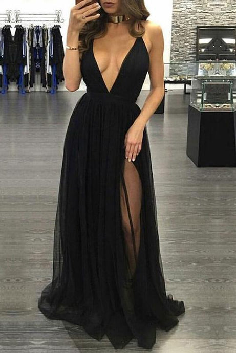 Awesome Tulle Black V-neck Split Front Prom Dresses