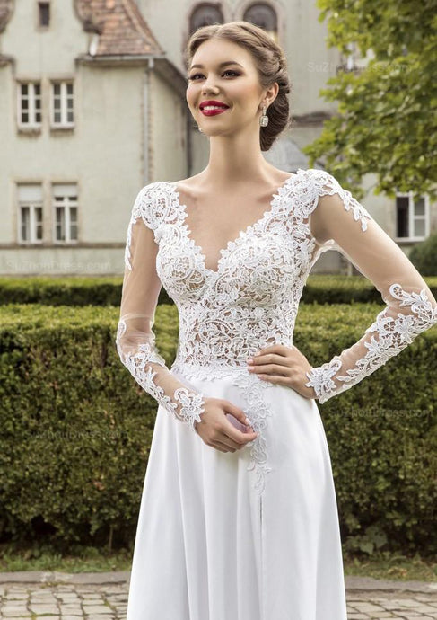 White Polished Lace Long Sleeves Wedding Dresses