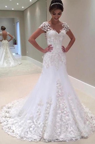 White Tulle Sweep Train Scoop Zipper Natural A-line/Princess Wedding Dresses