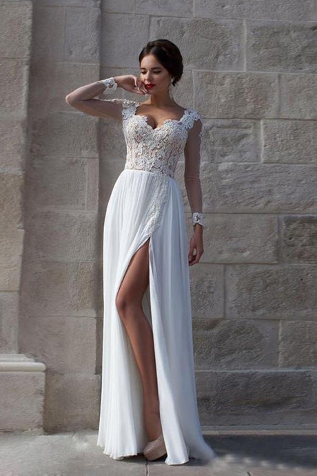 White Trendy Natural Lace Wedding Dresses
