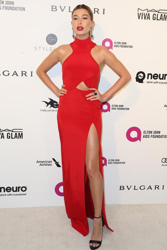 Red Hailey Baldwin Strapless Long Sheath/Column sexy Celebrity Prom Dresses Oscars 2016
