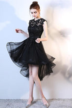 Black High Low Hi-lo A-line Lace Applique Tulle Formal Prom Cocktail Dresses