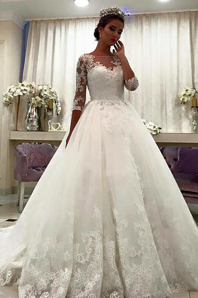 White Natural Zipper Tulle Lace Wedding Dresses