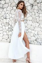 Sexy A-line Two-piece Full/long Sleeves Lace Chiffon Prom Dresses