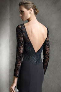 Long Sleeves Bateau Neck Black Lace Mermaid Mother of the Bride Dresses