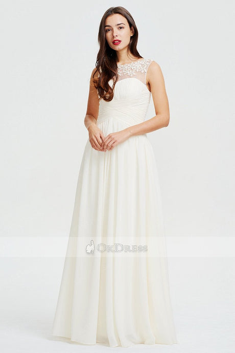 Ivory Classic A-line Scoop Neck Chiffon Prom Dress