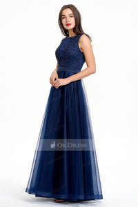 Long Natural Sleeveless Satin and Tulle Evening Gown