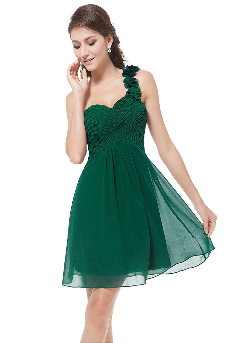 Short A-line One-shoulder Chiffon Formal Prom Dresses