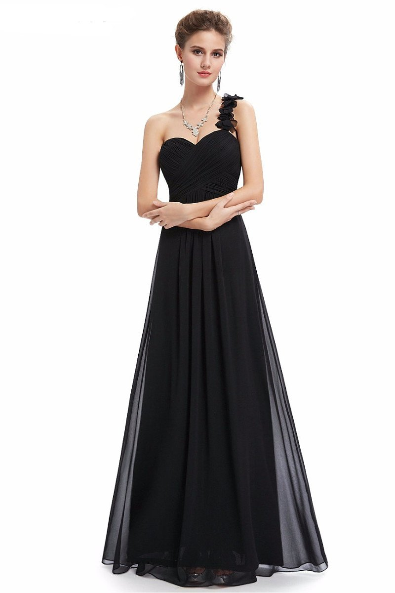 Black A-line One-shoulder Long Chiffon Formal Prom Dresses