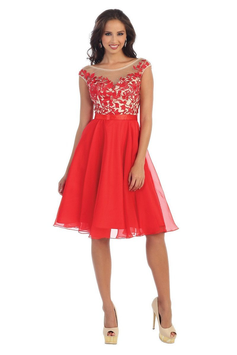 Red OKDRESS Lace Appliques Cap Sleeve Wedding Homecoming Dress