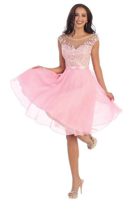 Pink OKDRESS Lace Appliques Cap Sleeve Wedding Homecoming Dress