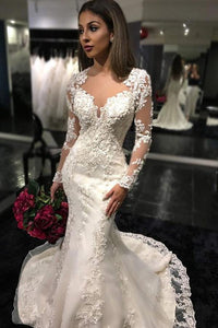 White Trumpet/Mermaid Scoop Long Sleeves Court Train Wedding Dresses
