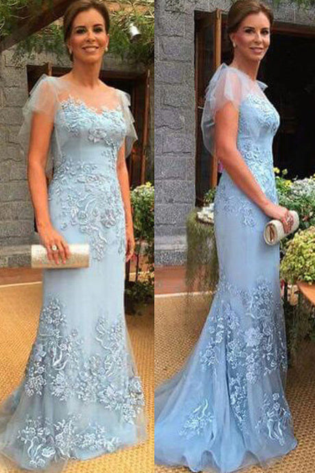 Best Scoop Trumpet/Mermaid Short Sleeves Sky Mother of The Bride Dresses
